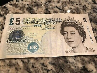 BRITISH 5 POUNDS BANKNOTE REAL CURRENCY NOTE IN PICTURE £ no longer in circlatio