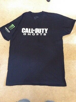 Black Call Of Duty Ghosts T-shirt with Monster Energy Drink Logo On Sleeve