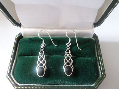 Sterling silver 925 Onyx Celtic knot design earrings, Pagan, Wicca, witch