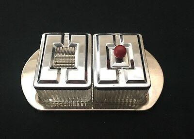 Vintage Ashtray Cigarette Holder Tray Set Art Deco Silver Clear Red Double