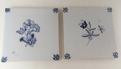 Vintage Delft / Royal Mosa Set Of Tiles- Flowers 5.5inch X 5.5inch Square