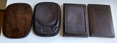 Set Of 2 Antique Chinese Ink Stone Ink Slabs Wooden Boxes From Anhui Province