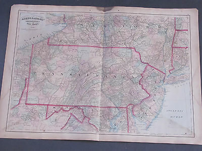 1873 Asher and Adams Pennsylvania and New Jersey Map