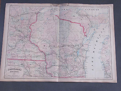 1873 Asher and Adams Wisconsin Map