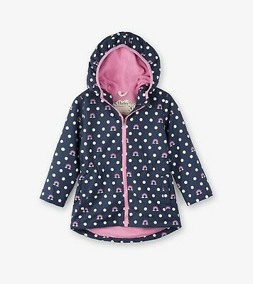 New Girls Hatley Navy Blue Dots & Rainbows Microfibre Raincoat Jacket 4 5 6 7