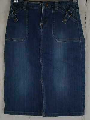 Old Navy Jean Skirt Girls Size 5 Stretch Blue Front Split Gently Used Excellent
