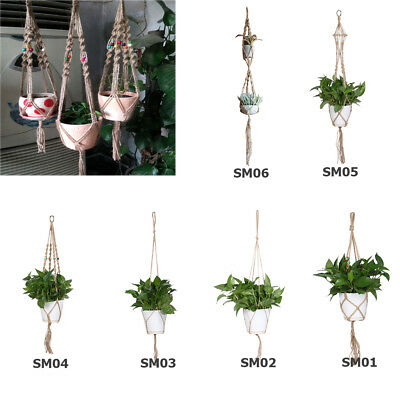 Durable Handmade Hemp Rope Macrame Plant Flower Hanging Basket Flowerpot Holder