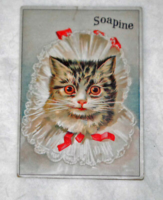 Soapine Cat In Bonnet Victorian Trade Card