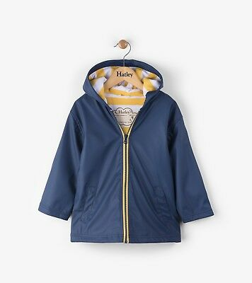 New Boys Girls Hatley Navy & Yellow Splashcoat Raincoat Mac Jacket 5 6 7 8