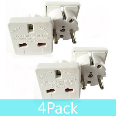 4 Pack UK to EU European France Germany Hungary Poland Spain Travel Plug Adapter