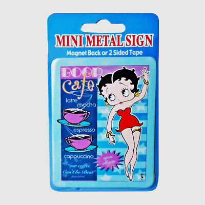 Betty Boop Cafe Mini Metal Refrigerator Magnet or Double Sided Tape Sign