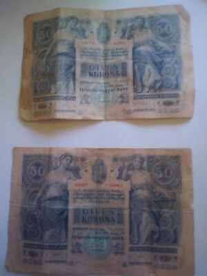 LOT of (2) 50 korona/kronen VG Banknote From Austro Hungarian Monarchy 1902 Rare
