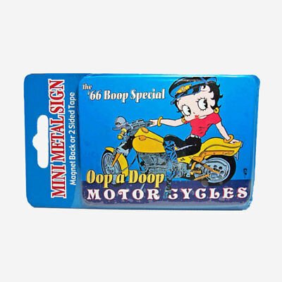 Betty Boop Motorcyles Mini Metal Refrigerator Magnet or Double Sided Tape Sign