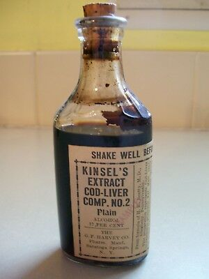 Kinsel's Extract Cod-Liver Comp. NO2, Nice W/ Content. Made Sarasota Springs NY