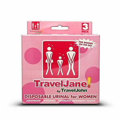 TravelJane Disposable Reusable Travel Urinal Toilet Unisex Festival 3 Pack