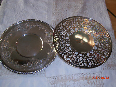 """Antique Silver Plate Trays Wallace Melford C6539 10"""" Pierced Reticulated S"""