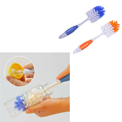 2 in 1 Baby Milk Feed Bottle Nipple Glass Cup Nozzle Spout Tube Cleaning BrushZY
