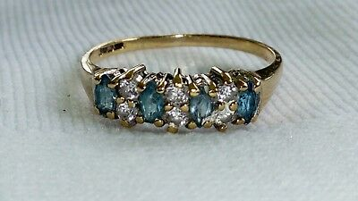 Uk Hallmarked 9Ct Yellow Gold Blue Topaz Band Ring, Sz O