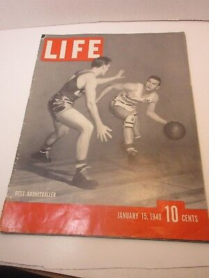 Vintage Life Magazine Jan. 15,1940 Cover: Best Basketballer / Great Ads  Lot #19