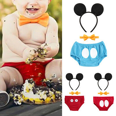 Toddler Baby Boy Diaper Cover Bottom Pants Mickey Mouse Headband Outfits Clothes