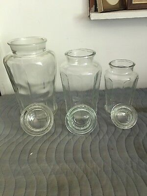 Set Of 3 Vintage Antique Drugstore Candy Jars