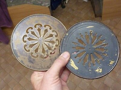 2 Antique French Clock Pierced Brass Back Doors (Mm)