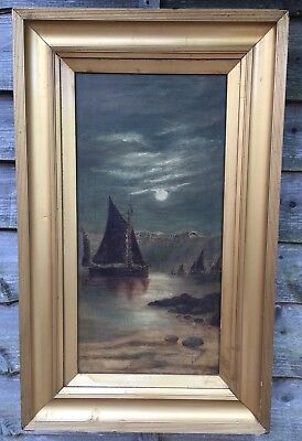 Large Antique Seascape Oil Painting In Gold Gilt Frame, Signed