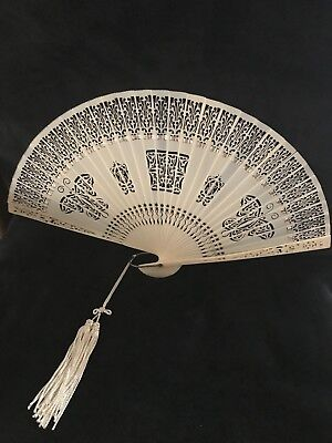 Unique Vintage Chinese Lacy Hand Held Fan - With Original Glass Top Box