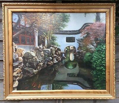 Very Large Oil On Canvas In Gold Gilt Frame, Signed