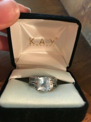 Aquamarine Kay Jewelers ring, size 7, white gold band, large middle stone