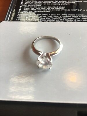 14K White Gold Ring With HUGE Clear Stone In Stuller Mounting
