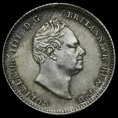 William IV Silver Four Pence / Grout 1836 A/UNC