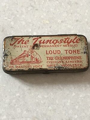 1920's HMV. THE TUNGSTYLE LOUD semi-permanent gramaphone needles tin Red