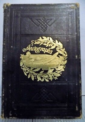 1865-66 Autograph Album CIVIL WAR USS SABINE Lynn Ma. AMERICAN FOLK ART Entries