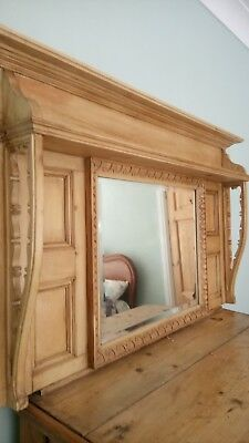 Antique Edwardian Old PineOver Mantle Mirror