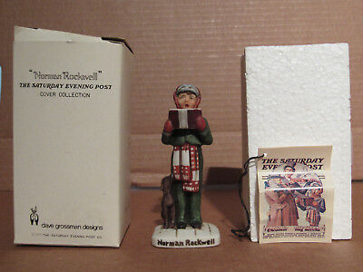 1979 Norman Rockwell Christmas Carroler And Dog Porcelain Figurine NR-203