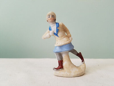 Antique German Signed Snow Baby Ice Skater Lady 2.5""