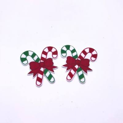4 x Christmas Candy Cane Flatback Planar Resin Embellishment Craft Hair bow UK