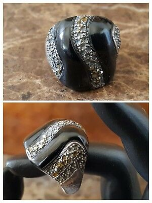 VTG xL Colossal Designer Art Deco Marcasite Onyx Abstract Ring Sterl Silver 925