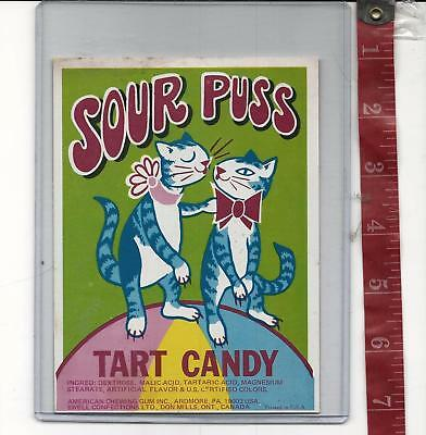 Vintage display Sour Puss Tart candy machine card FREE SHIPPING