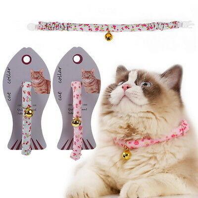 Lovely Small Cat  Floral Collar With Copper Bell  Nylon Fabric Pet Coller GIFT