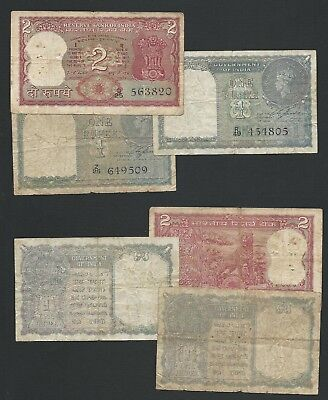 India      1,2 Rupees            1940, No Date          Lot of 3         Very Go