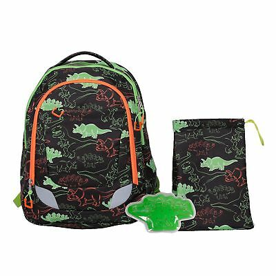 Crckt Youth Backpack, 3 Piece Set with Lunch Kit and Matching Ice Pack, Dinosaur