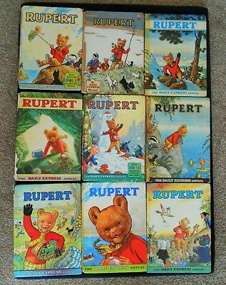 9 RUPERT BEAR ANNUALS, 50's to 70s, all good reading copies