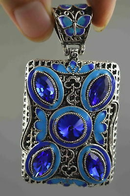 Collectable Handwork Miao Silver Carving Flower Inlay Agate Royal Noble Pendant