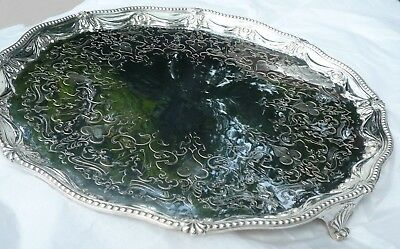 Beautiful Heavy Victorian 16.5 inch Sterling Silver Salver
