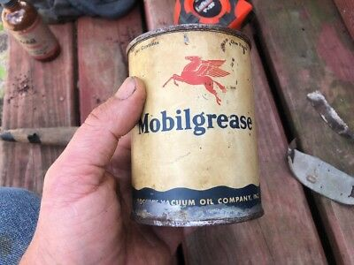 ANTIQUE GARGOYLE MOBILGREASE CAN NUMBER Almost Full TINS COLLECTABLE GREASE