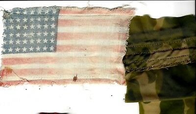 WW2 original Invasion flag patch , rare, used, faded & Parachute silk pc, D-day