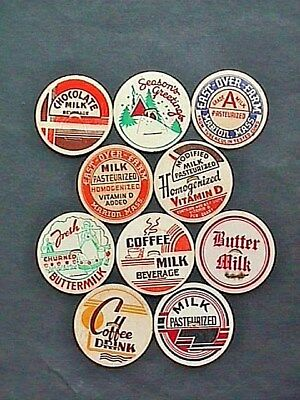 Milk Bottle Caps 10 Pieces All Different Unused Collectible Dairy Advertising