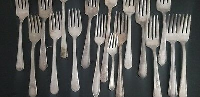 LOT OF 17 Antique Silver Plated Silverware Mixed Lot Flatware